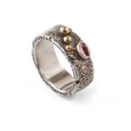 Hand made reticulated Sterling Silver ring with a pink Tourmaline & 18ct Yellow Gold accents