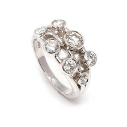 Hand Made Platinum ring, featuring 7 Diamonds, totalling 2.1 carats.