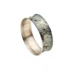 Oxidised, Sterling Silver Bark Texture Bangle, with 18ct Gold Granulation