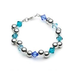 Sterling Silver Bead and Swarovski Bracelet