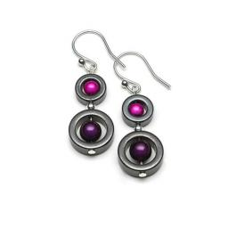 Harlequin Earrings Double Circle Drop Earrings