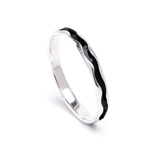 Handmade Sterling Silver Bangle, with contrasting, hand enamelled interior - Limited Edition