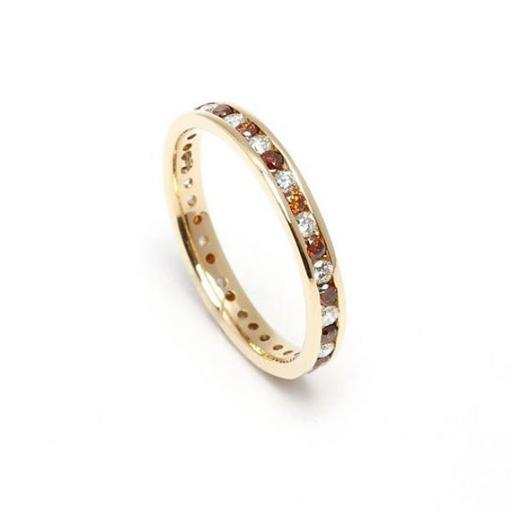 18ct Yellow Gold full Eternity ring featuring channel set chocolate and white diamonds.