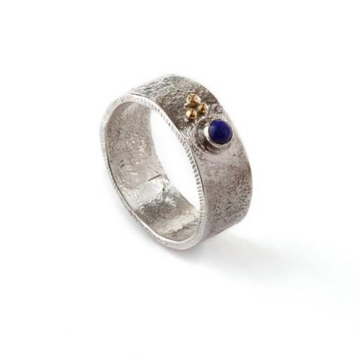 Handmade Sterling Silver reticulated ring, oxidised and set with Lapis Lazuli, with 18ct yellow gold granules.