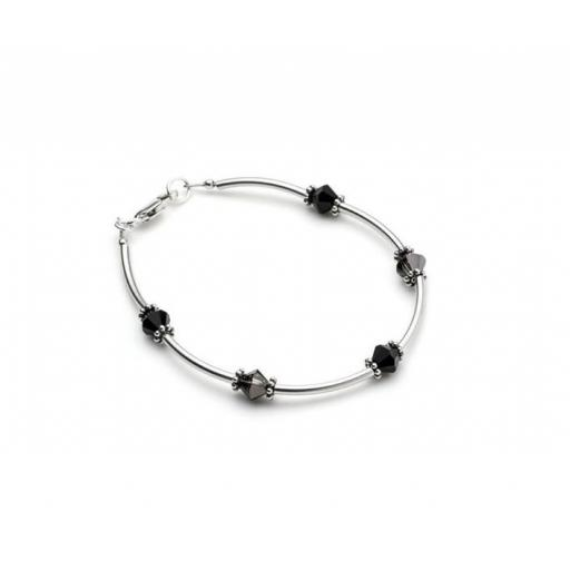 Sterling Silver Tube and Swarovski Bracelet