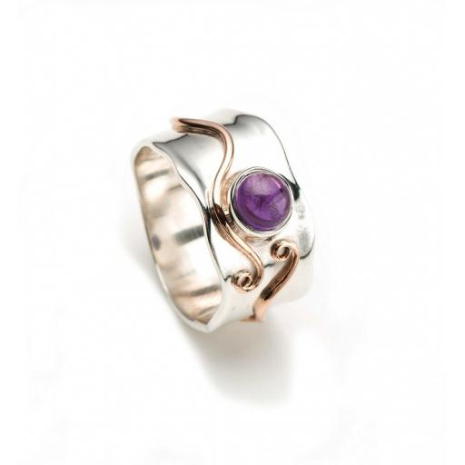 Wide Sterling Silver Ring with Amethyst Cabochon and Yellow Gold plated decorative swirling.