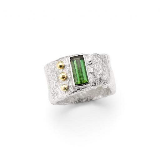 Solid Reticulated Sterling Silver Ring, vertically set with a baguette Tourmaline, and three 18ct Yellow Gold granules.