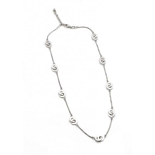 Sterling Silver Necklace, featuring flat, interlinked circles.