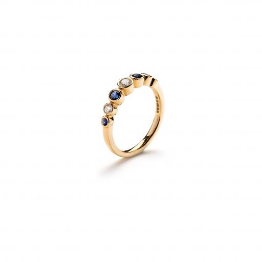 18ct Yellow Gold 'Bubble' Ring set with white diamonds and blue sapphires