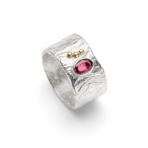 Sterling Silver Reticulated Ring set with a Pink Tourmaline and 18ct Yellow Gold Granulation