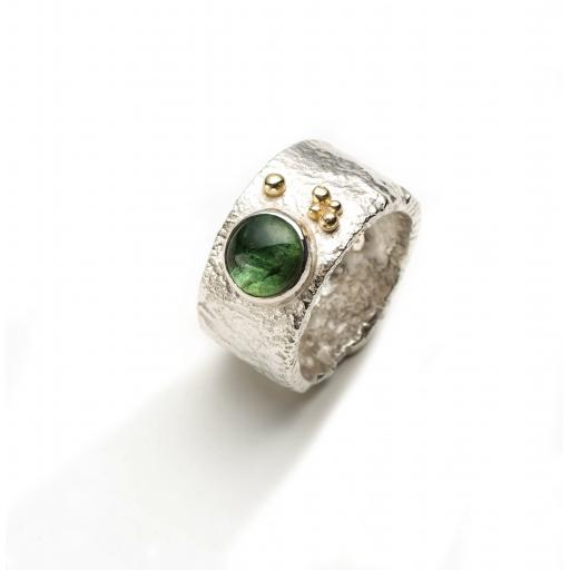 Handmade Reticulated Sterling Silver Ring set with Green Cabochon Tourmaline and 18ct Gold Granulation