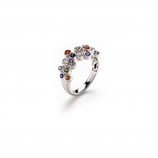 18ct White Gold band set with Red, Orange, Green and Blue Sapphires with White Diamonds