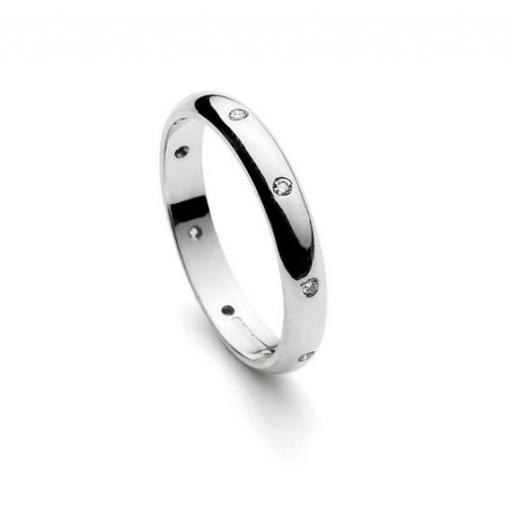 Handmade 9ct White Gold 'D' shaped band, set with 9 (1.5mm) Diamonds, equally spaced around the band.