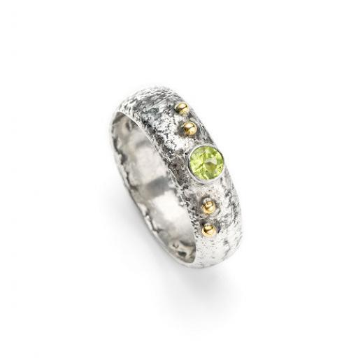 Sterling Silver Reticulated Peridot Ring with 18ct Gold Granulation