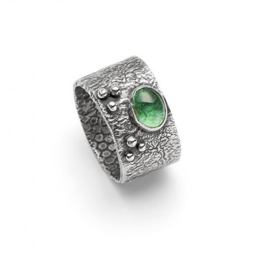 Wide Oxidised Sterling Silver Ring set with a Tourmaline and Sterling silver granules.