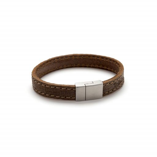 Flat Matt Leather Bracelet with Magnetic Stainless Steel Clasp