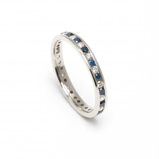 18ct White or Yellow Gold Full Eternity Ring with White and Chocolate Diamonds