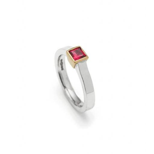 Handmade 18ct White Gold band featuring a 0.4ct square Ruby, set into 18ct Yellow Gold.