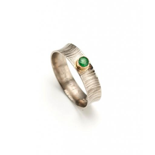 18ct White and Yellow Gold Emerald Ring