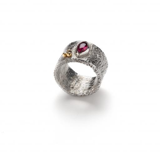 Sterling Silver Reticulated Ring with 18ct Gold Granulation and Pink Tourmaline