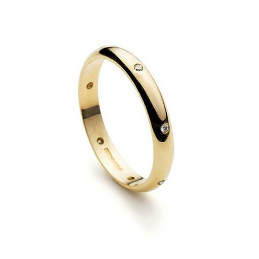Handmade, 3mm, 9ct Yellow Gold band, incorporating 7 equally spaced, flush set, 1.5mm Diamonds.