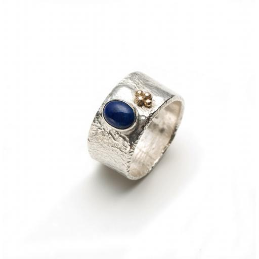 Sterling Silver Reticulated Ring with a Lapis Lazuli and 18ct Gold Granulation