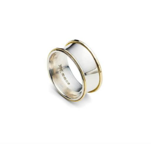 Handmade Sterling Silver Concave band with textured 18ct Yellow Gold edges.