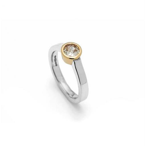 Handmade Solitaire ring: 1/2 carat Diamond, set in 18ct Yellow gold on 18ct White Gold Band