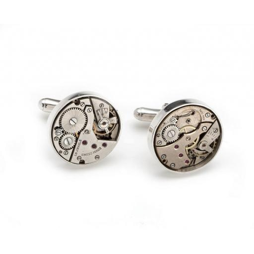Hand made Sterling Silver and genuine Watchwork Cufflinks