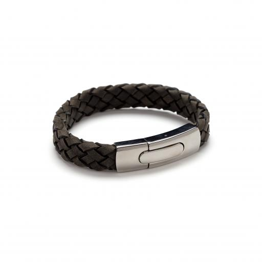 'Flat' Plaited Leather and Stainless Steel Bracelet