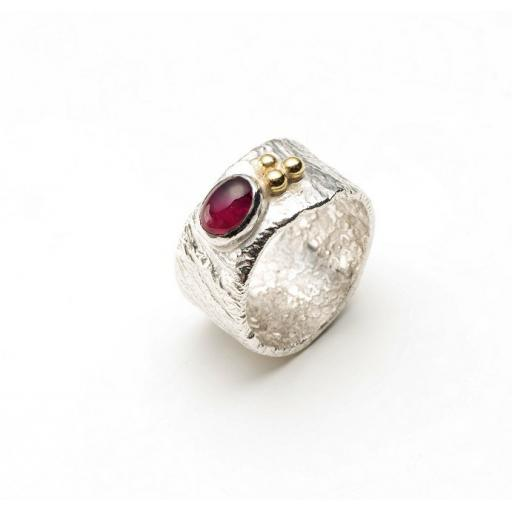 Sterling Silver Reticulated band, with Pink Tourmaline and 18ct Yellow Gold accents