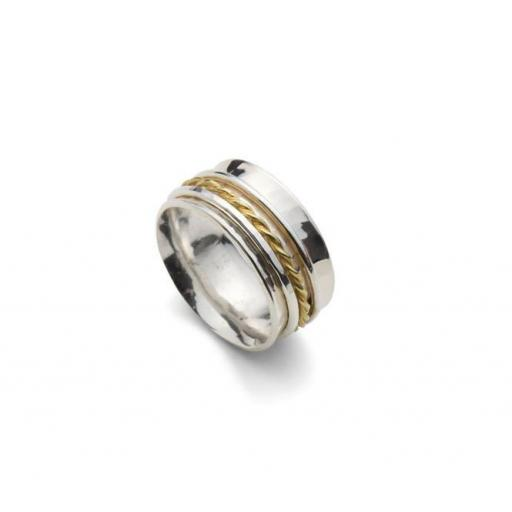 Hand made Sterling Silver and 18ct Yellow Gold 'spinning' ring
