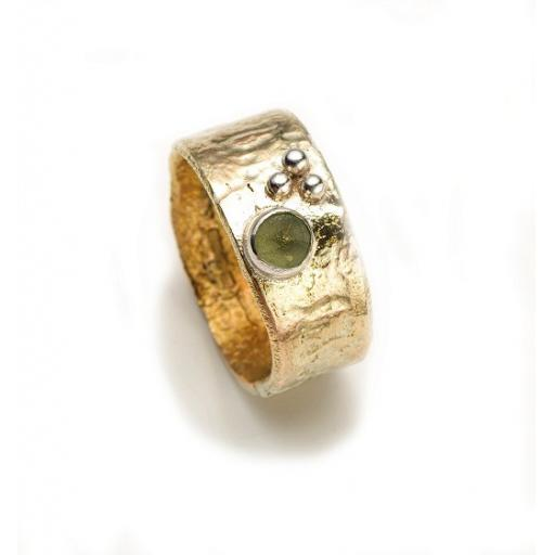 Hand made and textured 9ct Yellow Gold Ring, with an unpolished Green Tourmaline and Silver Granules