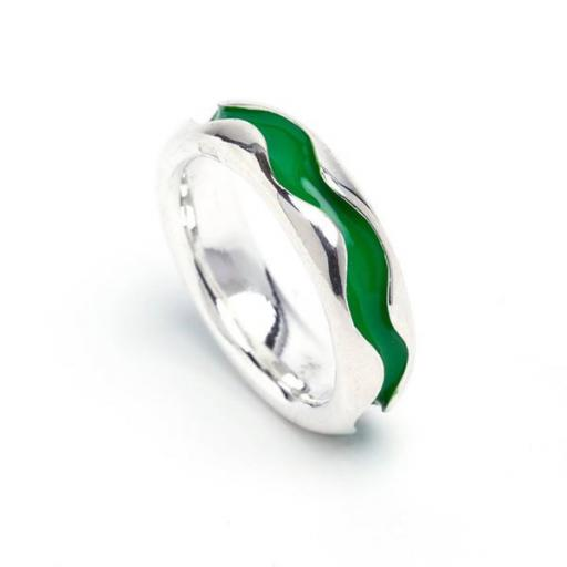 Hand Made Sterling Silver Enamelled Wave Ring