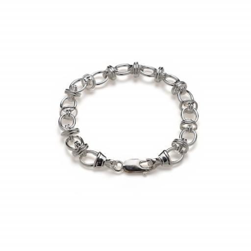 Sterling Silver Oval Link (Hugs and Kisses) Bracelet