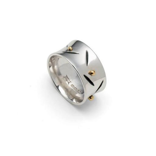 Sterling Silver Ring with 18ct Gold Granulation and Oxidisation