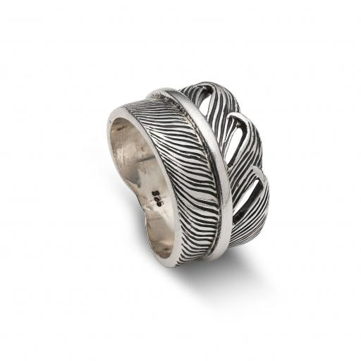 Wide Sterling Silver Ring Overlapping Feather Design