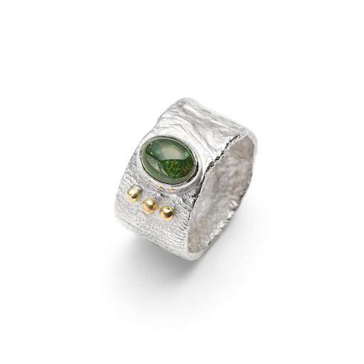 Sterling Silver Reticulated Green Tourmaline Ring with 18ct Gold Granulation