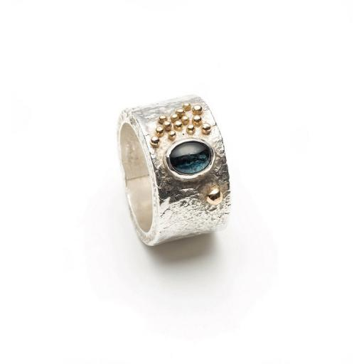 Reticulated Sterling Silver Ring, with a Tourmaline, set in18ct Yellow Gold