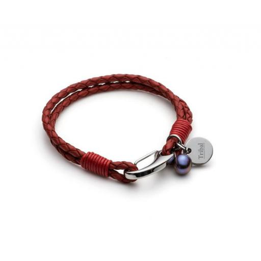 Leather Tribal Bracelet with disc and freshwater pearl