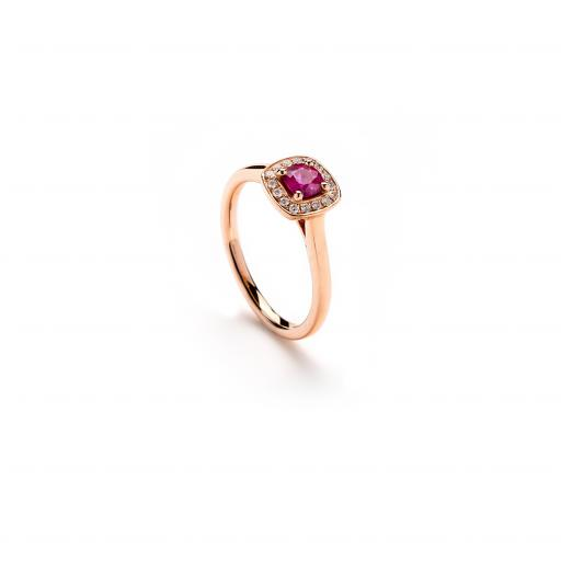 Stunning 18ct Rose Gold Ring, set with a single Ruby and Diamonds, in a square halo setting.