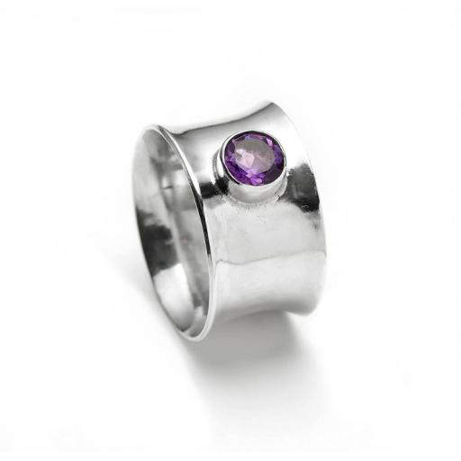 Sterling Silver Wide Concave Ring set with an Amethyst