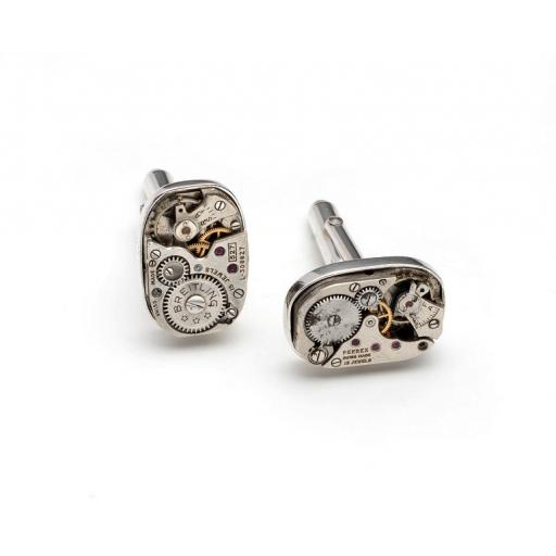 Hand made, Sterling Silver and Genuine Watchwork Cufflinks