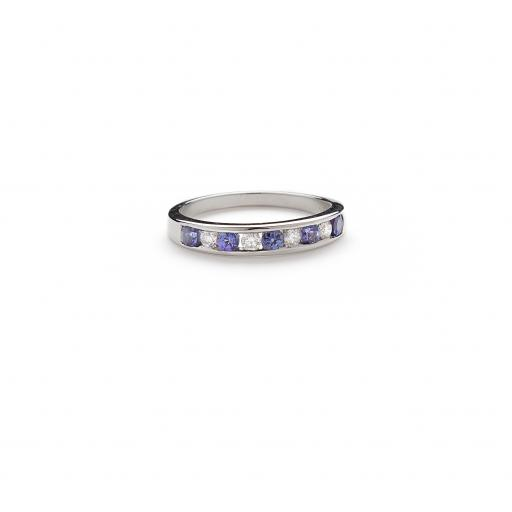 9ct White Gold Tanzanite and Diamond 1/2 Eternity Ring