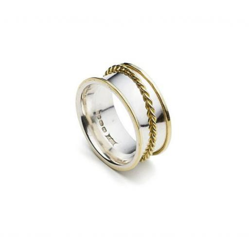 Handmade Sterling Silver spinning ring with twisted 18ct Yellow gold 'spinner' and 18ct Yellow gold edges