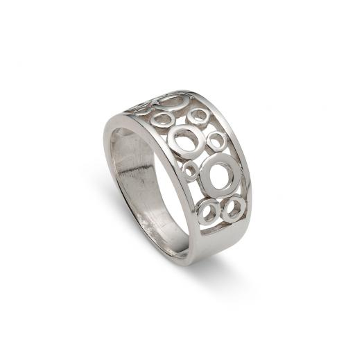 Wide Sterling Silver Ring Multi 'Open' Circles Design