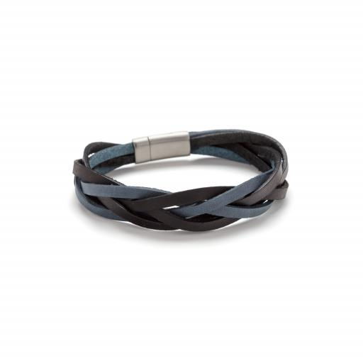 5 Strand Plaited Leather and Stainless Steel Bracelet