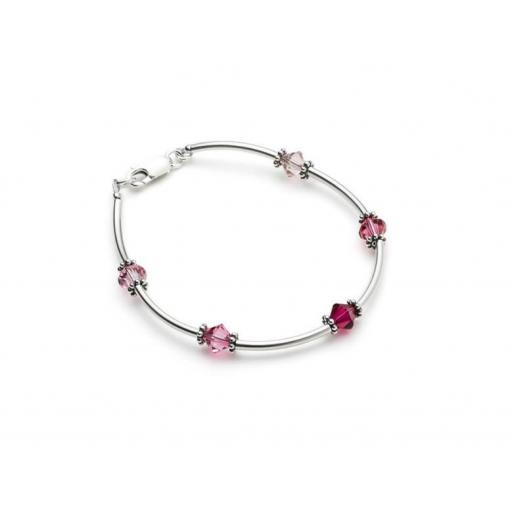 Sterling Silver Tube and Swarovski Bracelet